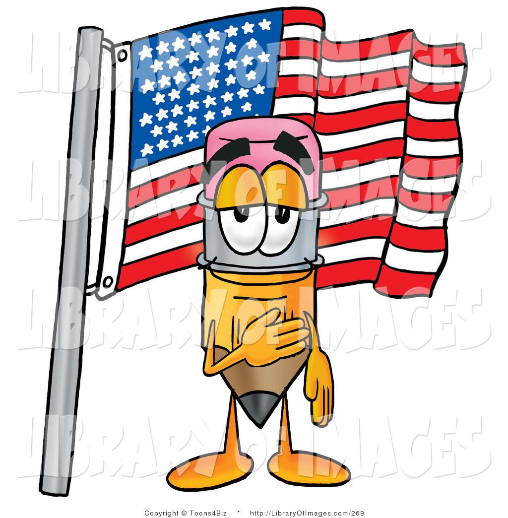 1024x1044 Clip Art Of A Proud Pencil Mascot Cartoon Character Pledging