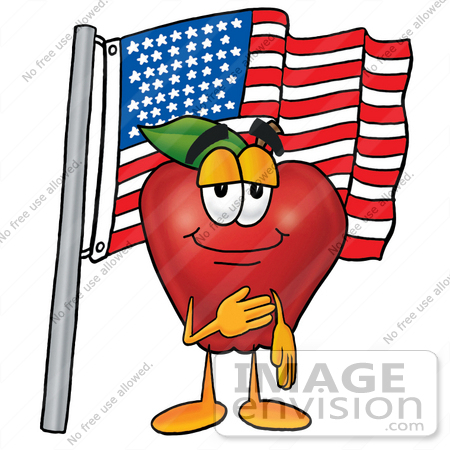 450x450 Clip Art Graphic Of A Red Apple Cartoon Character Pledging