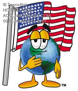 258x300 Clipart Image Of A Cartoon Globe Character Saying The American
