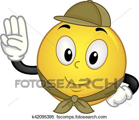 450x387 Clipart Of Smiley Boy Scout Pledge K42095395