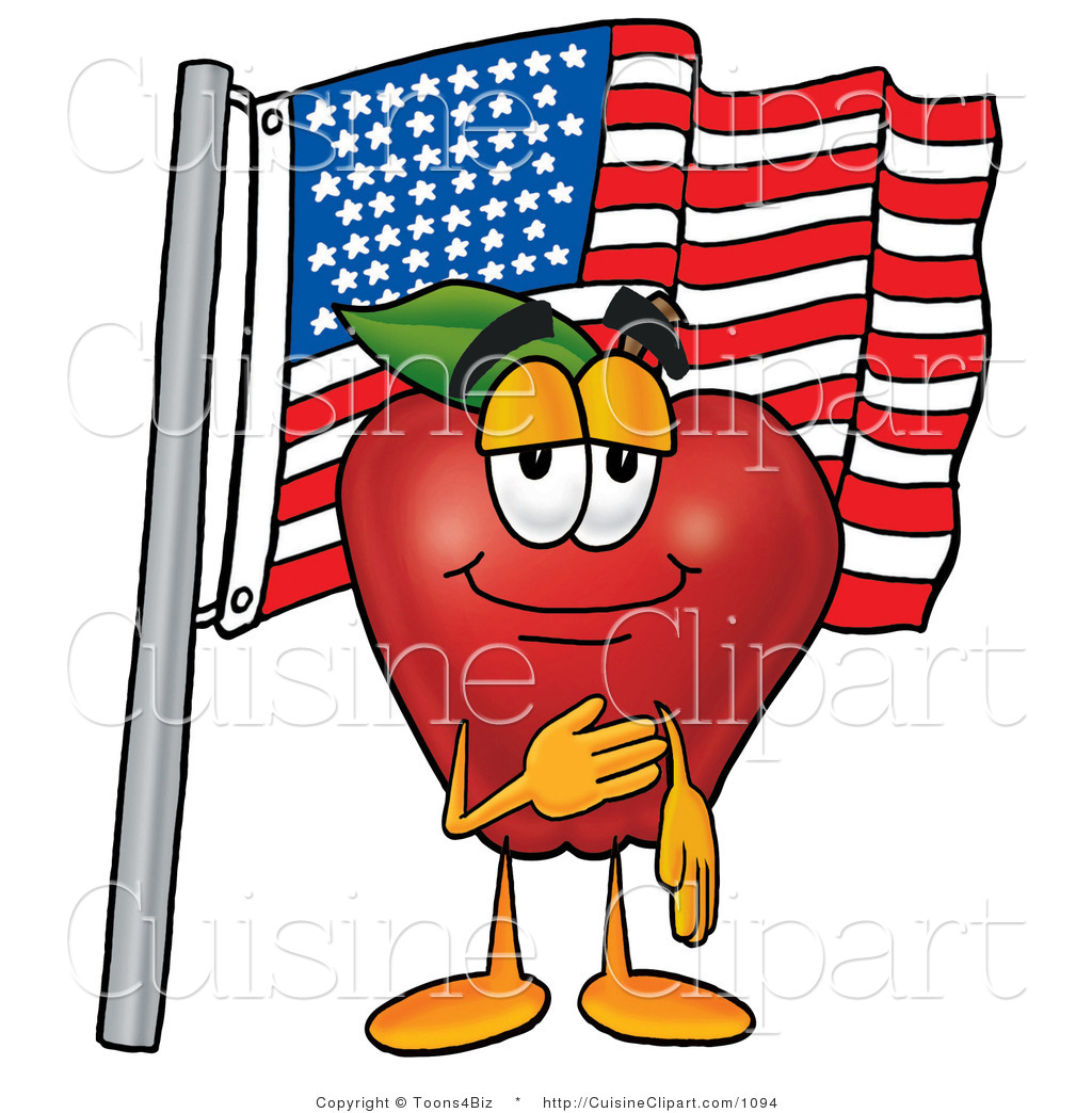 1024x1044 Cuisine Clipart Of A Patriotic And Nutritious Red Apple Character