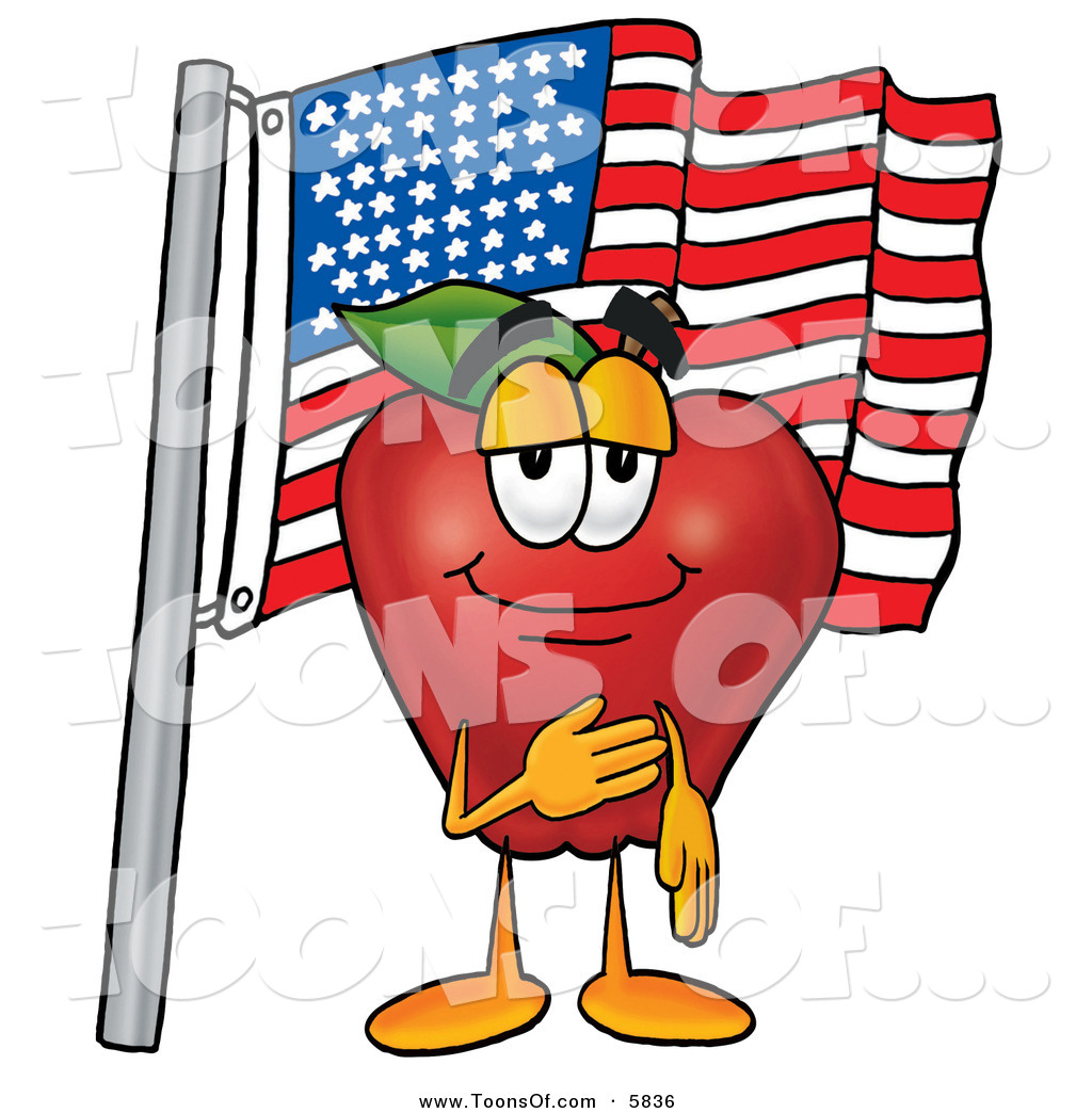 1024x1044 Cartoon Of A Patriotic Cheerful Red Apple Character Mascot Giving