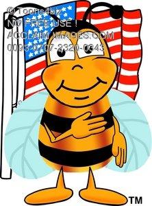 222x300 Illustration Cartoon Bumble Bee Or Honey Bee Saying Pledge