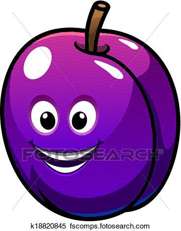 368x470 Clipart Of Colorful Healthy Fresh Purple Plum Fruit K18820845