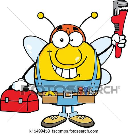 450x470 Clipart Of Pudgy Bee Plumber K15499453