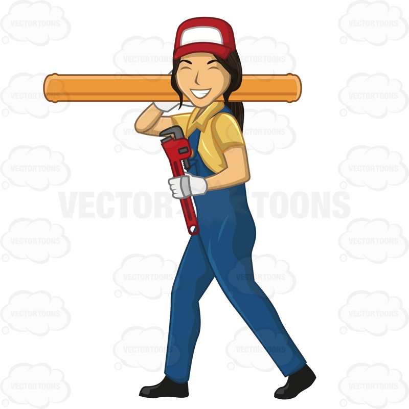 800x800 Female Plumber Smiling And Walking While Carrying A Large Pipe Pipes