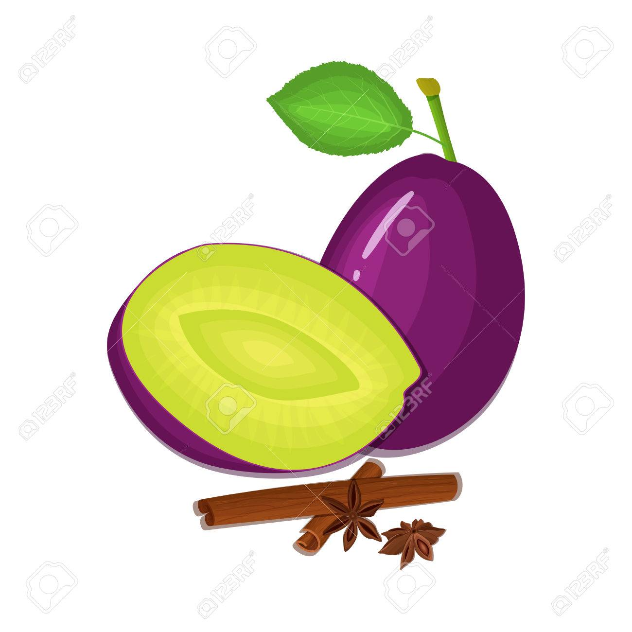1300x1300 Vector Drawing Of A Few Plums With Spice. Purple Plum Fruits
