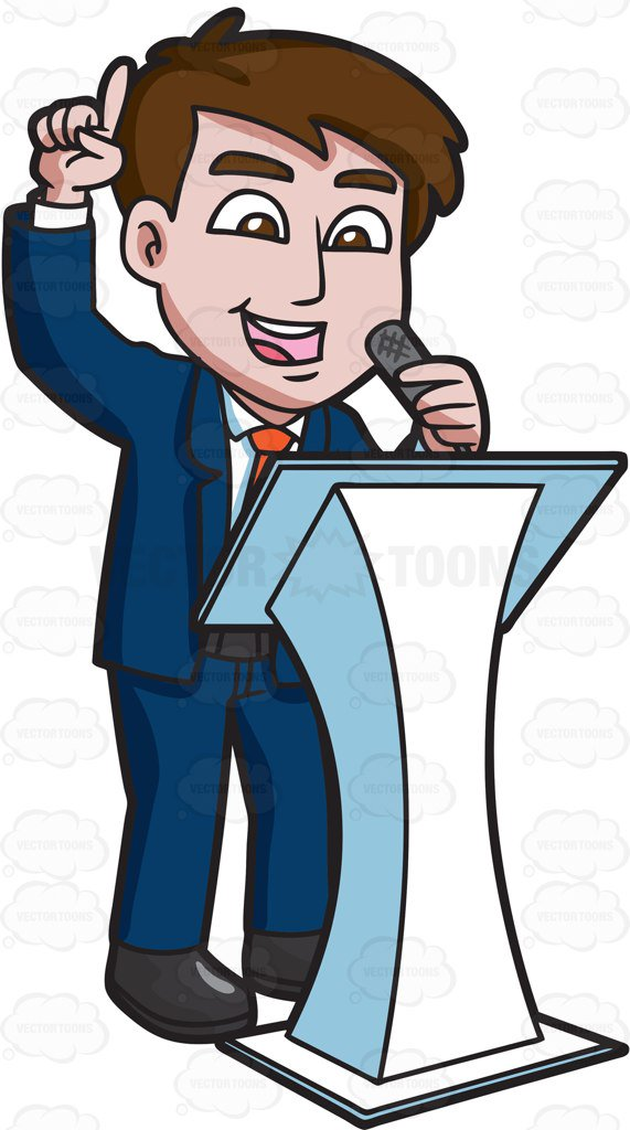 571x1024 A Man Encouraging The Audience During A Symposium Cartoon Clipart