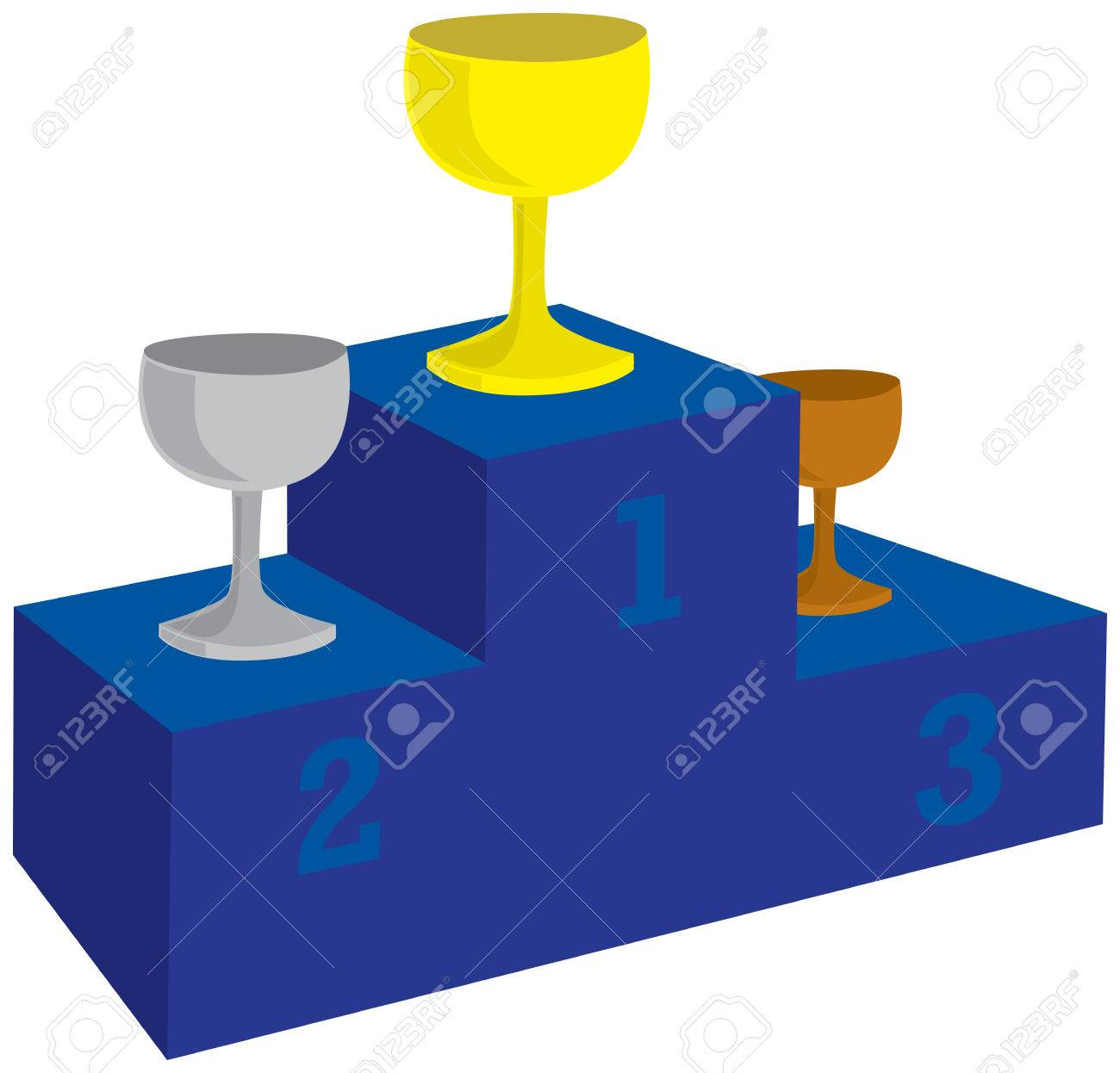 1300x1246 Illustration Of Award Podium With Prizes Royalty Free Cliparts