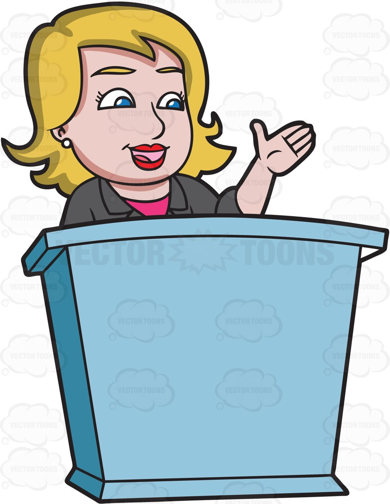 792x1024 A Woman Speaking To The Crowd Behind A Podium Cartoon Clipart
