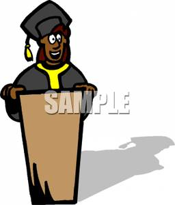 256x300 African American Graduate Speaking At A Podium Clipart Image