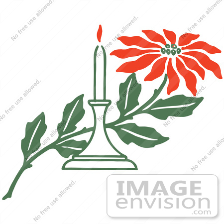 450x450 Clipart Of A Red Poinsettia Flower And Christmas Candle