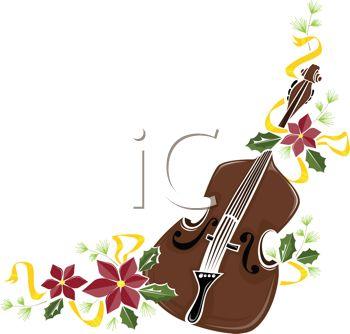 350x334 Fiddle With Poinsettias Design