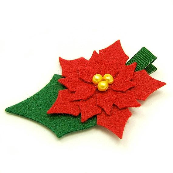 570x570 Poinsettia Hair Clip, Holiday Hair Clip, Felt Poinsettia Flower
