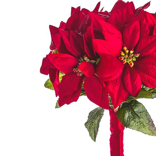 640x640 Artificial Luxury Poinsettia Bundle Bouquet