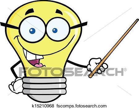 450x356 Clip Art Of Light Bulb Holding A Pointer K15210968
