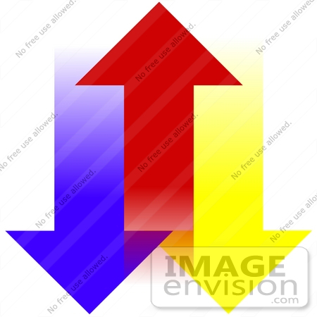 450x450 Clip Art Graphic Of Blue And Yellow Arrows Pointing Down On