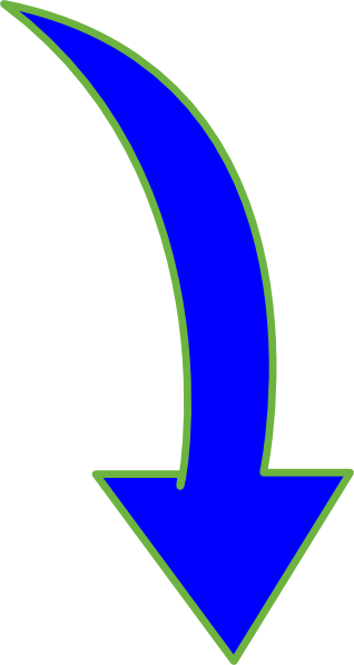 318x597 Curved Arrow Bright Blue Small Clip Art