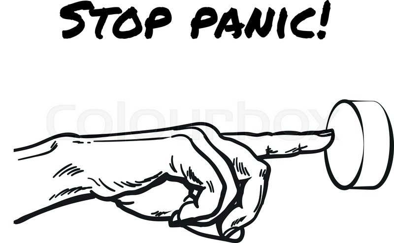 800x494 Hand Pointing On Button. Symbol Stop Panic. Symbol Stop Excitement