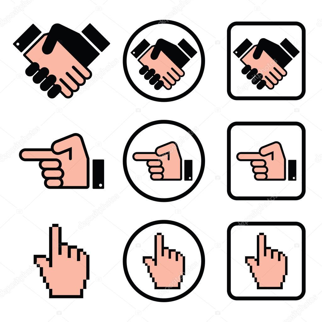 1024x1024 Handshake, Pointing Hand, Cursor Hand Icons Set Stock Vector