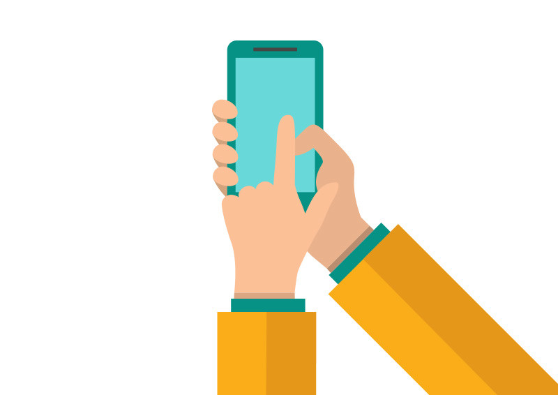 800x566 Holding And Pointing On Smartphone Flat Vector