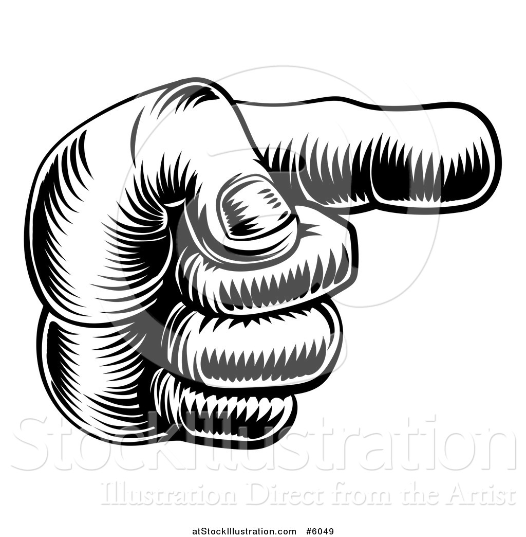1024x1044 Vector Illustration Of A Black And White Engraved Pointing Hand By