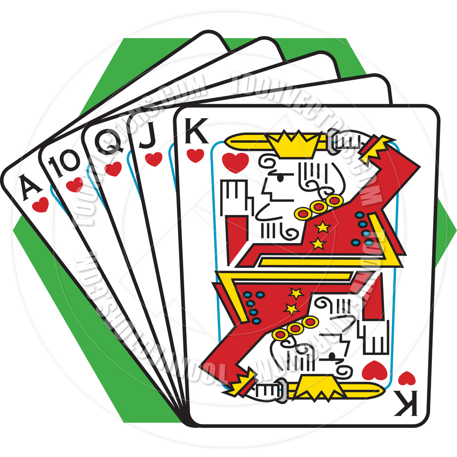 940x940 Cartoon Royal Flush Vector Illustration By Clip Art Guy Toon