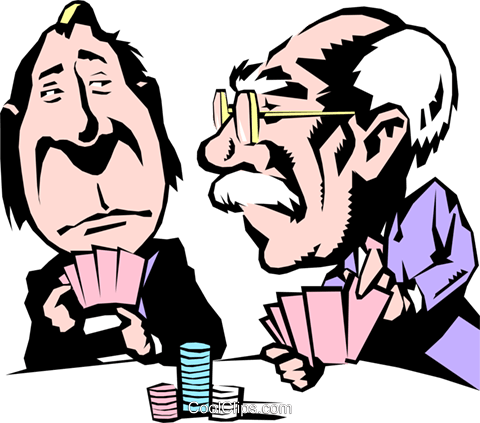 480x423 Cartoon Poker Players Royalty Free Vector Clip Art Illustration