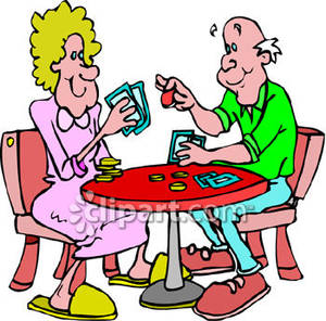 300x296 Couple Playing Poker Royalty Free Clipart Picture