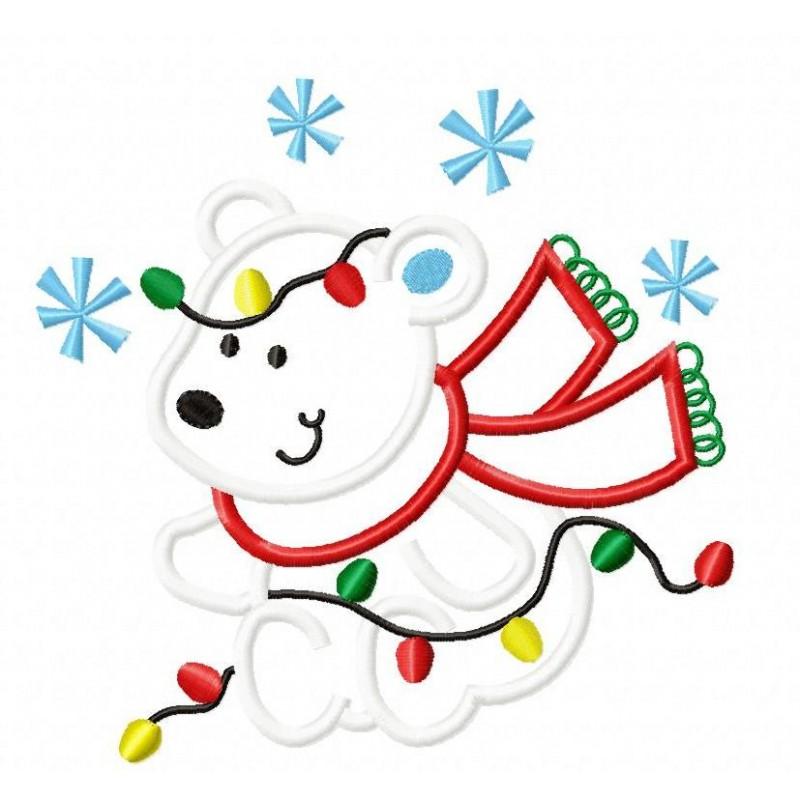 800x800 Christmas Polar Bear Applique Design