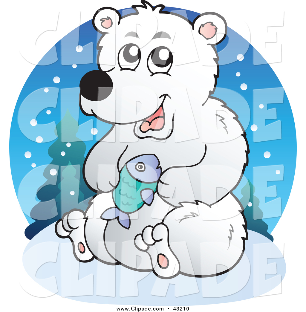 1024x1044 Clip Art Of A Polar Bear Holding A Fish By Visekart