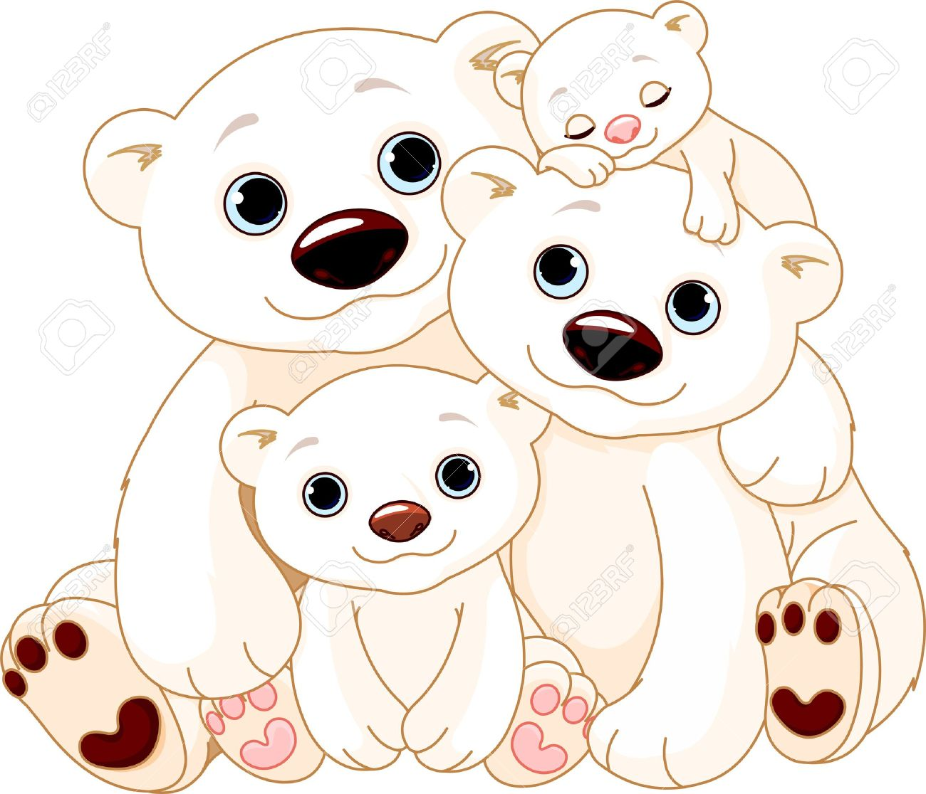 1300x1116 Polar Bear Mama And Baby Clip Art Cliparts