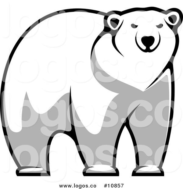 600x620 Royalty Free Clip Art Vector Of An Imposing Polar Bear Staring