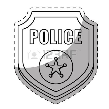 450x450 Police Badges Flat Icon On Blue Background. Vector Illustration