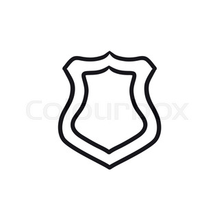 320x320 Police Badge Vector Sketch Icon Isolated On Background. Hand Drawn