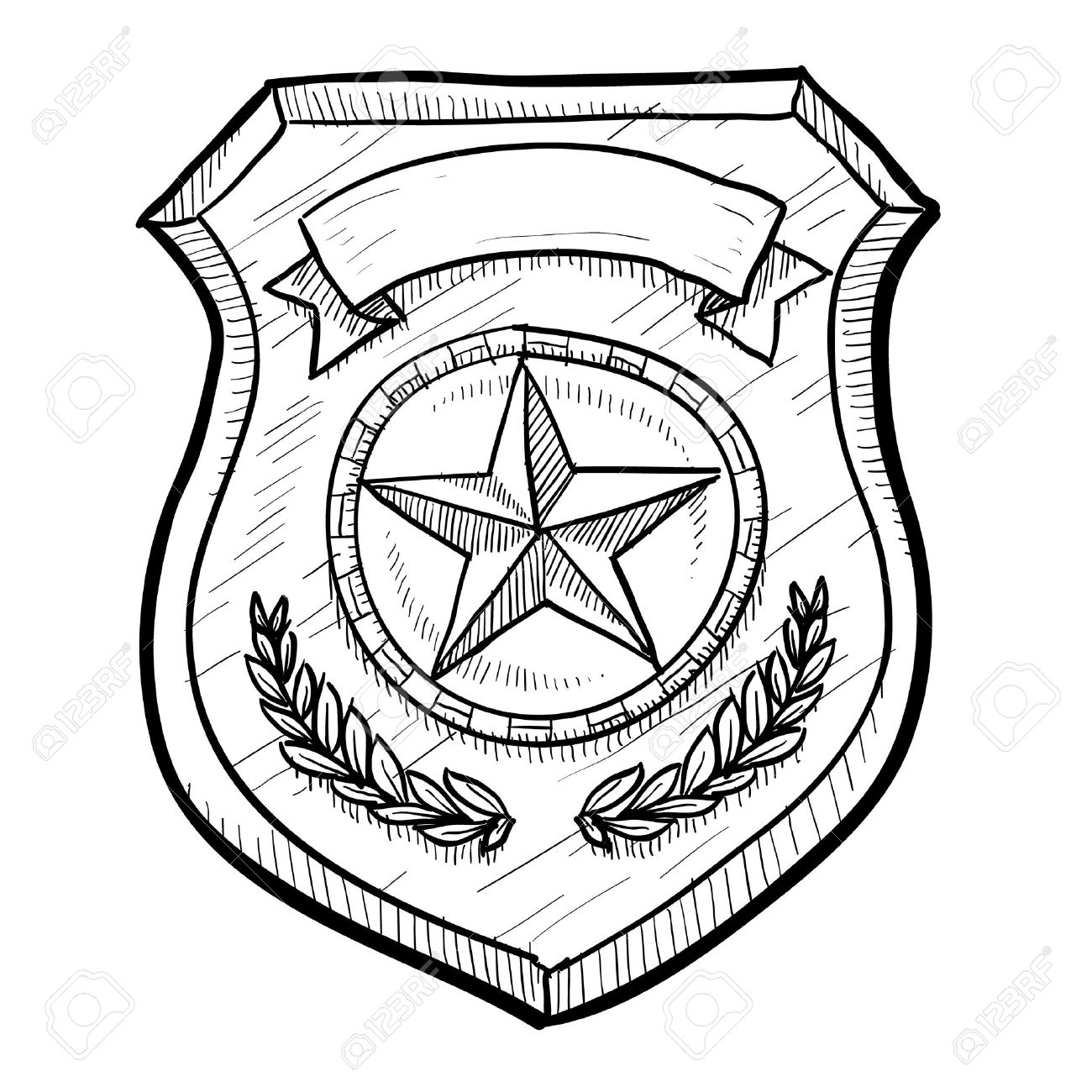1300x1300 Doodle Style Police Or Firefighters Badge Vector Illustration