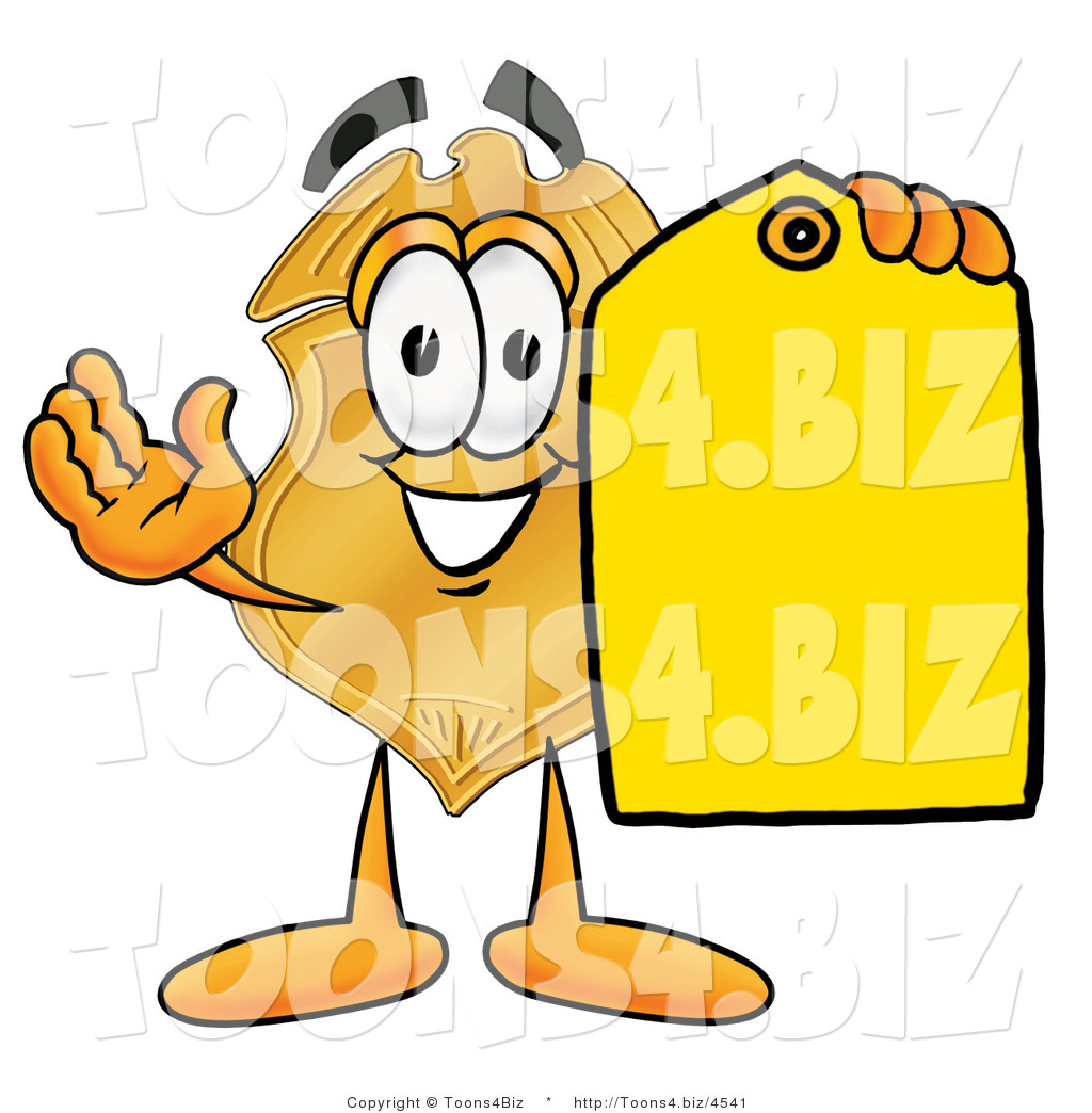 1024x1044 Illustration Of A Police Badge Mascot Holding A Blank Yellow Price