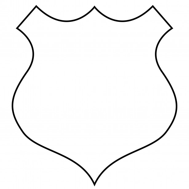 615x615 Police Badge Black And White Clipart 2008797
