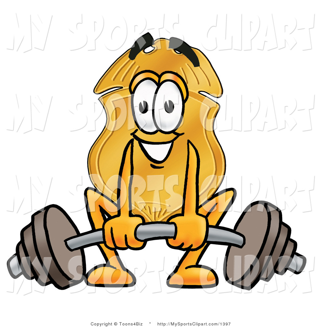 1024x1044 Sports Clip Art Of A Police Badge Mascot Cartoon Character Lifting