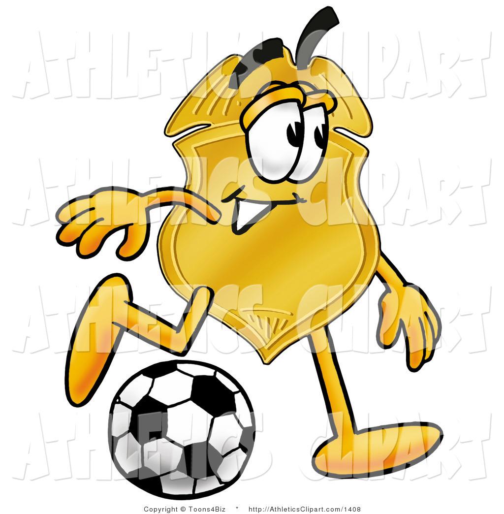 1024x1044 Clip Art Of A Golden Police Badge Mascot Cartoon Character Kicking