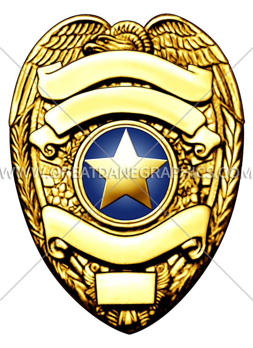 825x1135 Gold Police Badge Production Ready Artwork For T Shirt Printing