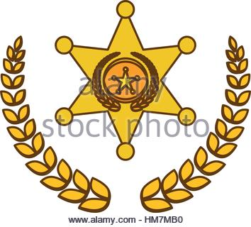 354x320 Gold Police Badge Icon Image, Vector Illustration Stock Vector Art