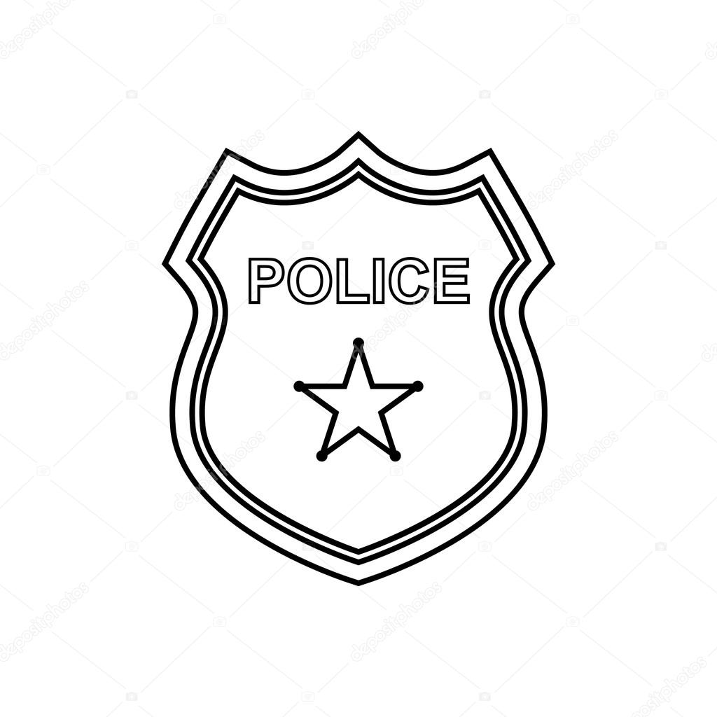 1024x1024 Police Badge Outline Icon. Linear Vector Illustration Stock