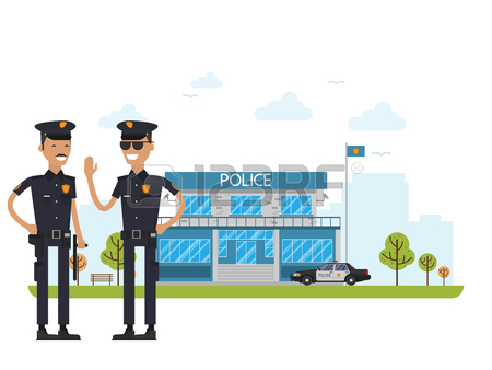 450x338 Figure Police Station Icon Image, Vector Illustration Royalty Free