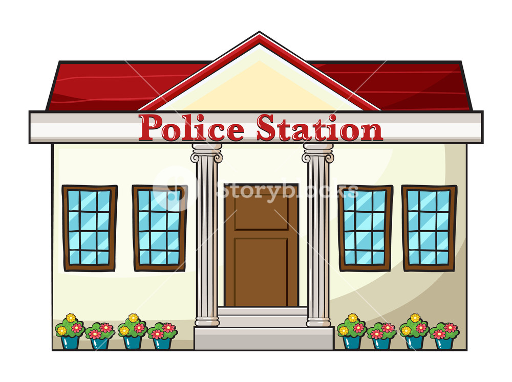 1000x747 Illustration Of A Police Station On A White Background Royalty