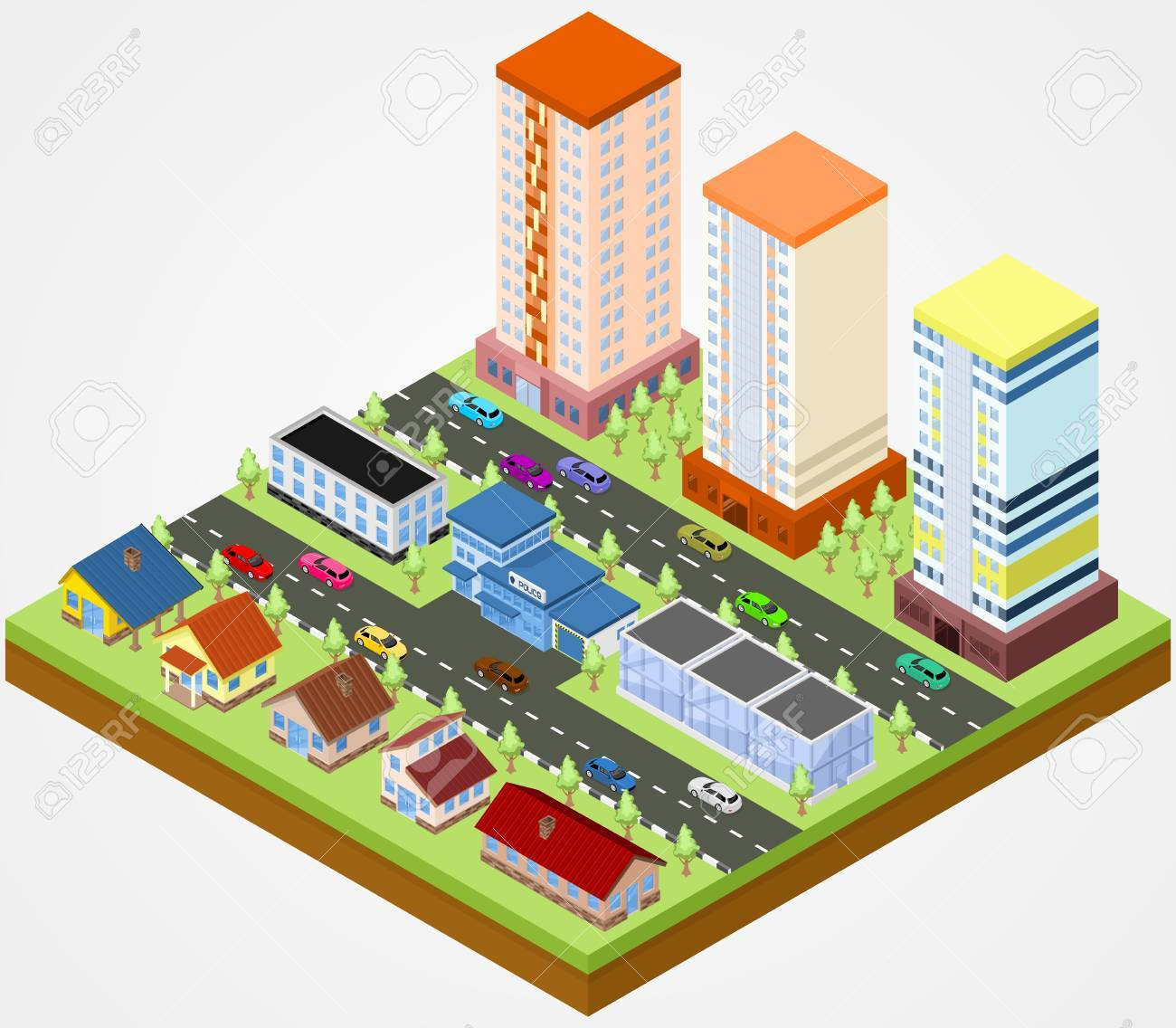 1300x1136 Isometric City Block With The Police Station Royalty Free Cliparts