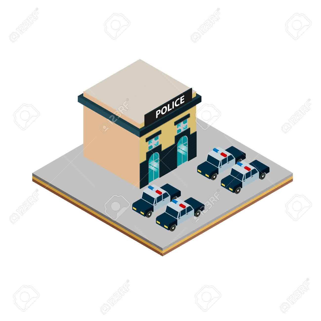 1300x1300 Isometric Police Station Icon With Police Cars Illustration