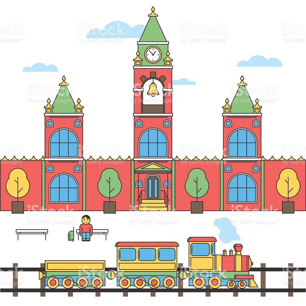 1024x1022 Train Station Clipart Vector