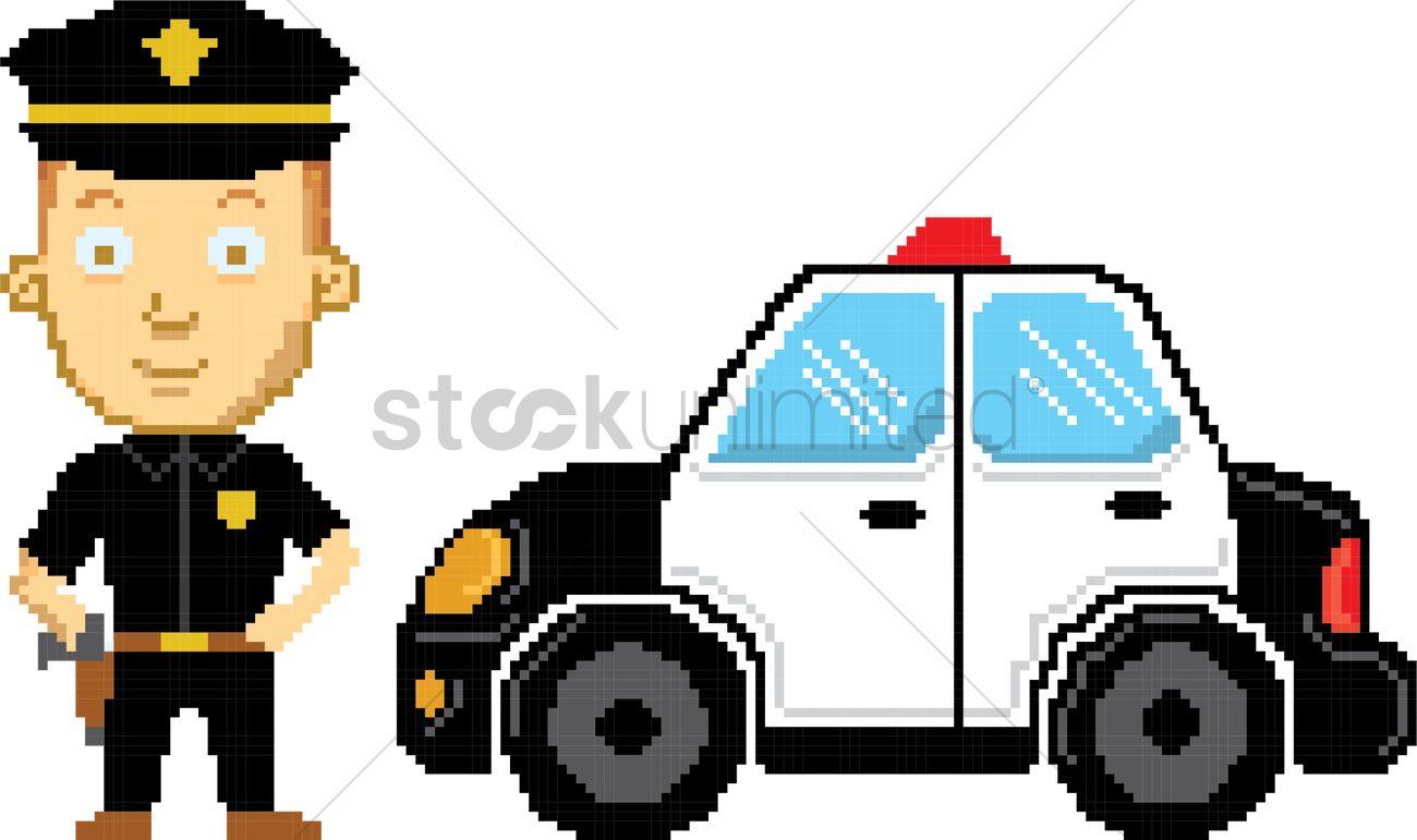 1300x771 Pixel Art Police Vector Image