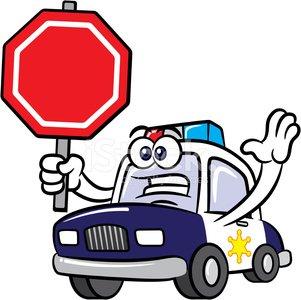 301x300 Police Car Cartoon Mascot Character Stop Sign Stock Vectors